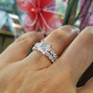 Jewelry - 14k Solid White Gold 1.5ct  Engagement Ring 2pc